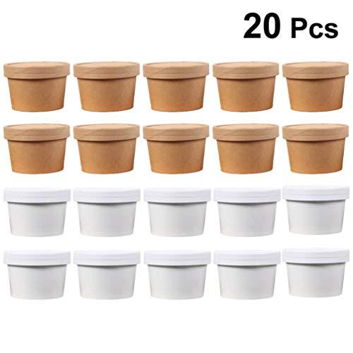 Hemoton Einweg-Eisbecher Gefrierschrank Aufbewahrungsbehälter aus Papier Suppentassen mit Deckel für Eiszubereitungssuppe Und Lebensmittelaufbewahrung (Weiß Und Kraft)