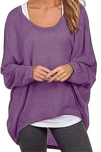 Meyison Damen Lose Asymmetrisch Sweatshirt Pullover Bluse Oberteile Oversized Tops T-Shirt Violett XL