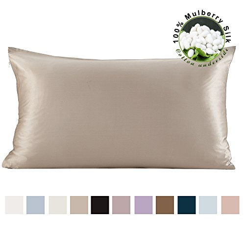 Price comparison product image LILYSILK 100 Pure Mulberry Silk Pillowcase for Hair with Cotton Underside Charmeuse Hypoallergenic King 50x90cm Silvergray 1pc 19 Momme