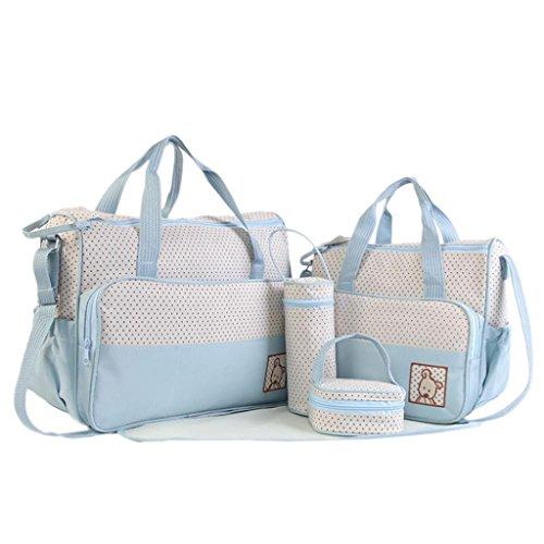 2017 Morwind El bebé 5Pcs Pañal que cambia los bolsos fijó el bolso impermeable del hospital del pañal de la momia (Cielo azul)