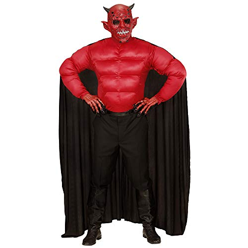 Widmann 00633 - Erwachsenenkostüm Teufel, Muskelshirt mit Umhang, Größe L, schwarz (Luzifer Kostüm Männer)