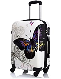 Trolley de cabina 55cm–Maleta rígida 4ruedas de policarbonato ABS Super ligero–Aprobado por para voli como Easyjet & C.–Fantasia mariposa