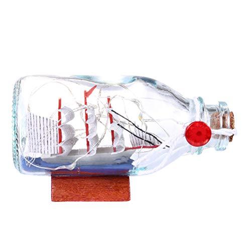 Uonlytech Bunte LED-Nachtlicht-Segelboot-Drift-Flaschen-Ausgangsdekorations-Verzierungen (Glas Flasche Herzstück)