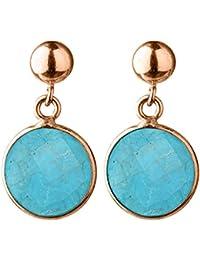 c2f6897bc455 GEMSHINE Ohrringe mit Türkis Edelsteinen. 925 Silber, vergoldet, rose  Ohrhänger. Nachhaltiger,