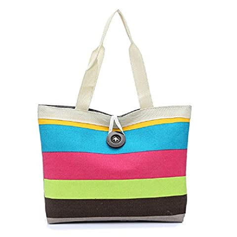 Rcool women Lady Colored stripes Shopping Handbag Shoulder Canvas Bag