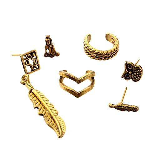Bluestercool donne boemia retrò clip di orecchio orecchini set di gioielli, lega, oro, 6pc