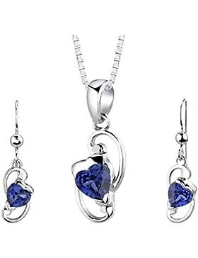Revoni Damen Anhänger Ohrringe Schmuckset 925 Sterlingsilber Saphir mit Silber Halskette 46 cm