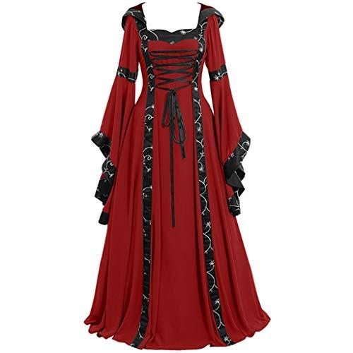 DRESS_start Damen Mittelalterliche Kleid mit Trompetenärmel Mittelalter Party Kostüm Maxikleid (Mittelalterliches Bankett Kostüm)