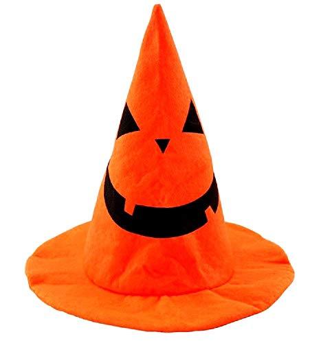 te Hut - Hexe - Kegel - Halloween - Zubehör - Kopfbedeckung - Kostüm - Verkleidung - Cosplay - Karneval - Kürbis - Orange - Schwarz - Kinder ()