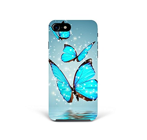 For iPhone 7 - iPhone 8 - Phone Back Case Hard Cover Custom Personalised Trendy Style Christmas Gift Present Abstract Modern Design Protective Plastic UK Brand Appfix Blue neon Butterfly Hipster