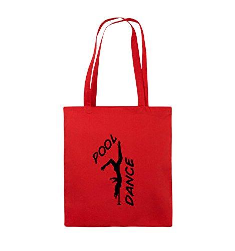 Comedy Bags - POOL DANCE - FIGUR - Jutebeutel - lange Henkel - 38x42cm - Farbe: Schwarz / Pink Rot / Schwarz