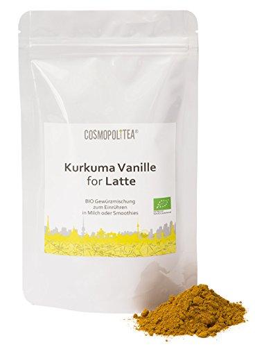 BIO Kurkuma-Latte Vanille, 150g, (Kurkuma-Pulver mit Vanille),Goldene Milch, im wiederverschließbaren Beutel (Pulver-tee-mix)