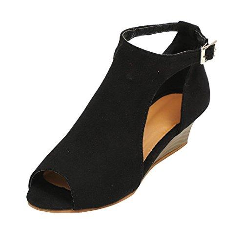Sandalen Damen Sommer Elegant Flip Flops Schuhe Mode Strandschuhe Zehentrenner Pantoletten Plateau Keilriemen Peep Toe High Heel Schuhe (41, Schwarz)