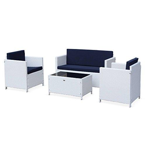 Salon de Jardin en résine tressée - Perugia - Blanc, Coussins Bleus - 4 Places - 1 canapé, 2 fauteuils, Une Table Basse