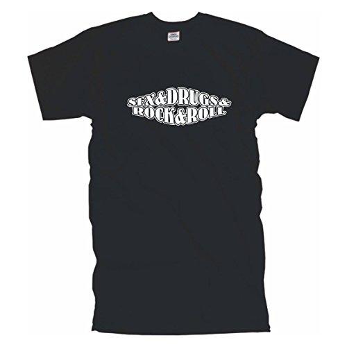 sex drugs rock, edel bedrucktes schwarzes Männer T-Shirt mit coolem Motiv, Funshirt witziges Geschenk, Baumwolle auch Übergrößen bis 12XL (BL088) Schwarz