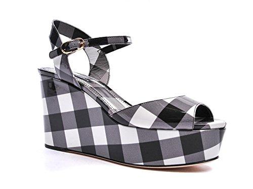 Compensées Dolce & Gabbana en cuir verni noir/blanc - Code modèle: C19179 AC190 8F852 Noir