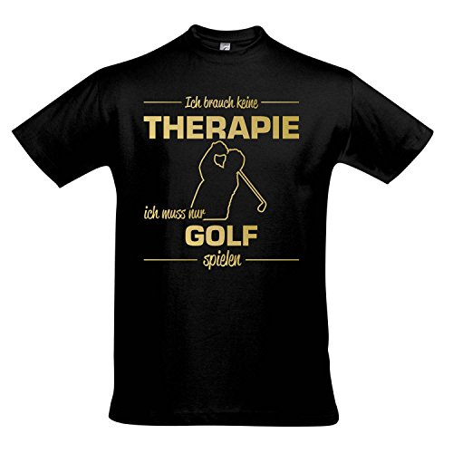 Geburtstag Golf Shirt (T-Shirt - Therapie - Golf - Sport FUN KULT SHIRTS S-XXL , Deep black - gold , XL)