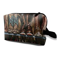 Cosmetic Bag Portable Handbag Cowboy Boots Rustic Wood Plank Travel Toiletry Pouch Small Makeup Bags Case Organizer