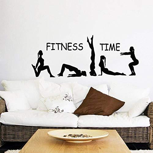 14f5acd6c7fb AAVJBD Fitness Time Wall Decal Sport Girls Gymnast Yoga Art Pegatinas De  Pared Gym Home Deocration Vinyl Wall Art Mural Girl Sports