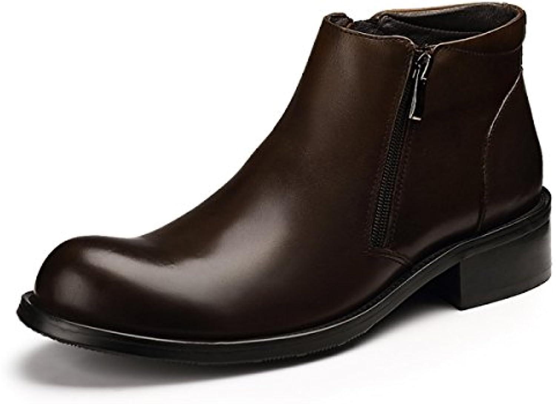 GRRONG Herren Winter Reißverschluss Hohe Stiefel Kurze Stiefel Modegeschäft Martin StiefelGRRONG Reißverschluss Stiefel Modegeschäft Brown 42