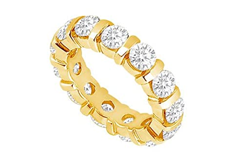 10 Carat Eternity Wedding Bands Bar Set AAA CZ Eternity Band on 18K Yellow Gold Vermeil