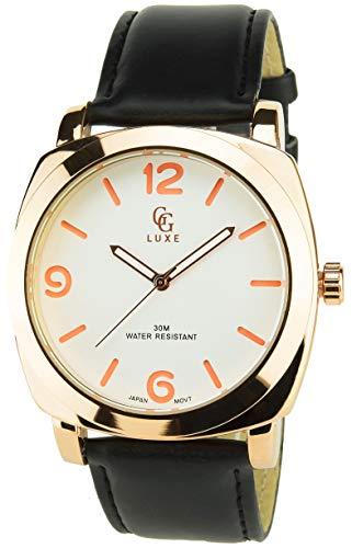 GG LUXE -Reloj Hombre Blanco Oro RosaCuarzo caja Acero pantalla analógica Water resist 30M-3ATM Pulsera Piel sintética Negro