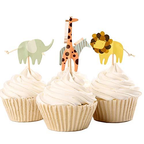 fumee animaux mignons Dessert Muffin Cupcakes pour pique-nique Mariage Baby Shower fête d'anniversaire Server, 24pièces