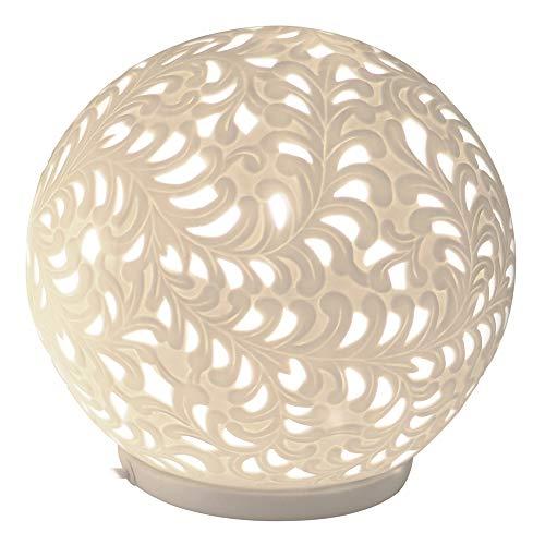 Formano Porzellan-Lampe Kugel Harmonie Romantik Tischleuchte Nachttischlampe Nachttischleuchte Stimmungslampe Weiss 24cm -