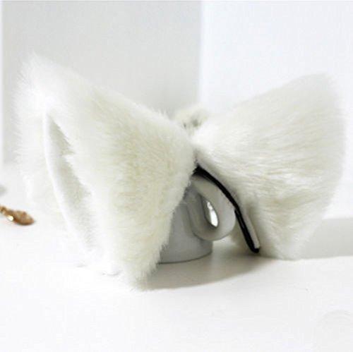 ECMQS 1 Pairs Haarschmuck für Frauen Weibliche Damen, Katzenohren clips Party Weihnachten Kostüm Mädchen Frauen stirnband (Weiß & ()