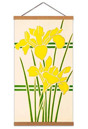 Art Nouveau Daffodils Canvas Wall Art Print Poster Magnetic Hanger Clip Frame 24x12 Inch Wand - Daffodil Fine Art