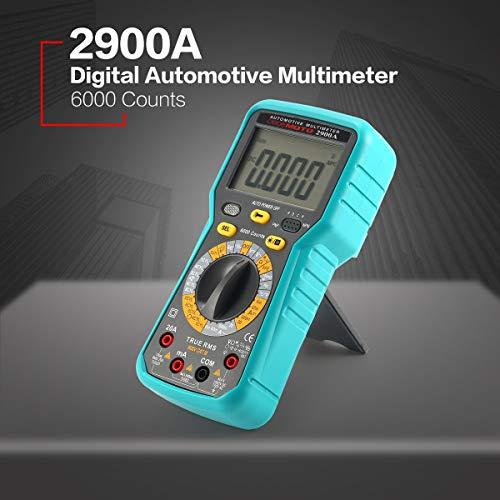 Gugutogo 2900A Digital Automotriz Automotriz Multímetro de motor de automóvil 6000 cuentas Verdadero RMS CA/CC Volt Amp Ohm Dwell Angular Ángulo Velocidad de rotación ProbadorGris y azul