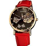 Frauen Uhren,Moeavan Frauen-Blumen-Uhren-Räumungs-Damen-Uhr-Schmetterlings-Blumenfrauen-Uhren auf Verkaufs-preiswerte lederne Armbanduhr neu (rot)