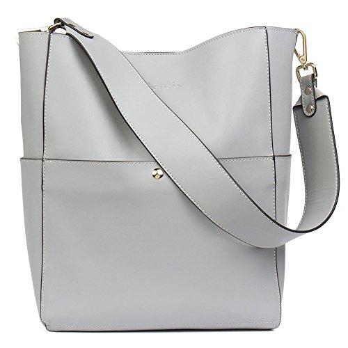 BOSTANTEN Leder Damen Handtasche Schultertasche Designer Umhängetasche Tasche Groß Grau - Leder-designer-handtasche