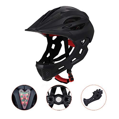 BLLJQ Casco Cycling per Bambini, Casco Integrale, con Mento Staccabile Traspirante for Bici MTB BMX Climbing (Nero)
