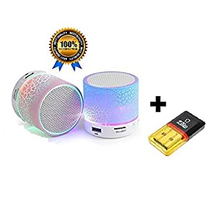Casvo Portable Mini Wireless Audio S10 LED Light Enabled Bluetooth Speaker, Mini Card Reader Combo Pack