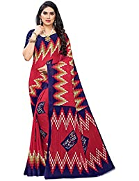 Anni Designer Women's Red Color Chiffon Printed Saree With Blouse (SHALINI RED_Free Size)