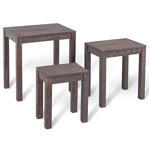 SENLUOWX Tables gigognes 3 pièces en Bois d'acacia Massif fumée Look