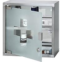 Fastcar Medizinschrank zur Wandmontage, abschließbar, Edelstahl, mit 2 Einlegeböden und Milchglas-Tür, ca. 30... preisvergleich bei billige-tabletten.eu