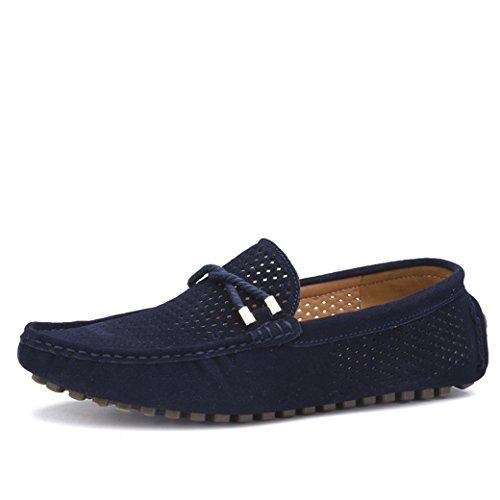 Yaer Herren Halbschuhe Wildleder Mokassin Slipper Confort Bootsschuh aus Leder (Blau EU42) (Wildleder-bootsschuhe)