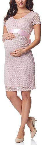 Umstandskleid helles rosa festlich mit Satin Schleife
