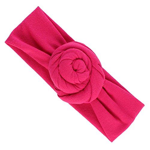 MagiDeal Elastisch Haarband Stirnband Knoten Blumen für Baby Mädchen - Pink