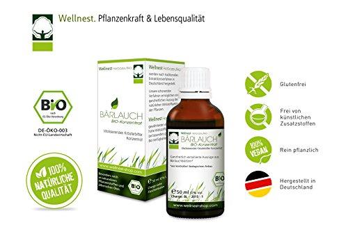 Wellnest Bärlauch Bio Konzentrat 50 ml - Bio Bärlauch Tropfen aus deutscher Herstellung