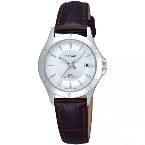 Pulsar Ladies' Stainless Steel, Brown Leather Strap PXT891X1