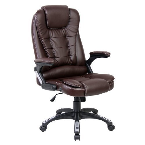 LIFE CARVER LUXURY RECLINING EXECUTIVE HIGH BACK OFFICE CHAIR FAUX LEATHER SWIVEL Desk Armchair (Brown)