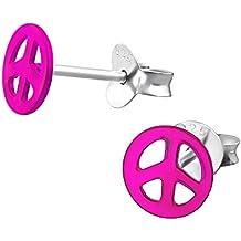 Peace ohrringe pink