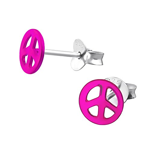 Laimons Damen-Ohrstecker Peace pink glanz Sterling Silber 925