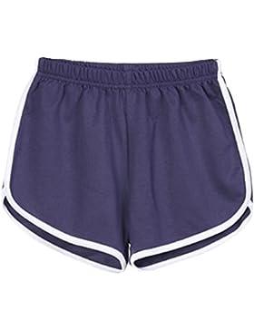 Donna Estivi Skinny Pantaloncini Vita Elastica Casuale Sport Fitness Yoga Spiaggia Pantaloni Corti Hot Pants Blu...