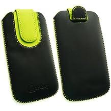 Emartbuy® Negro / Verde Premium Cuero PU Funda Carcasa Case Tipo Bolsa ( Size 3XL ) con Mecanismo de Pestaña para Estirar adecuada para Bogo LIfestyle 4SL-QC Smartphone 4 Inch