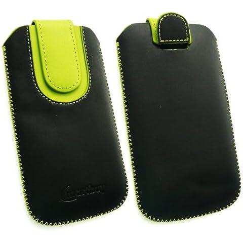 Emartbuy® Nero / Verde Premium Cuoio Slide In Supporto Del Sacchetto Della Case Custodia Cover (Dimensione 4Xl) Con Pull Tab Meccanismo Appropriato Per Cubot One