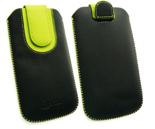 Emartbuy® Schwarz / Grün Premium PU Leder Slide in Hülle Tasche Sleeve Halter ( Größe 3XL ) Mit Pull Tab Mechanism Passend für Lumigon T2 HD